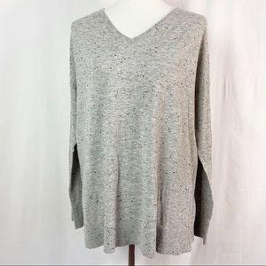 Lou & Grey Marled Knit Gray V-Neck Sweater Lg